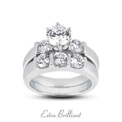 0.72ct H Vs2 Round Natural Diamonds Plat Classic Ring With Wedding Band