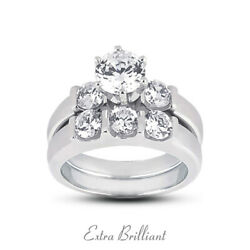 1.33ct H/si1 Round Natural Certified Diamonds Plat Classic Engagement Ring Set