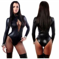 Bodysuit Exotic Sexy Lingere Black Patent Leather Leotard Faux Leather Latex