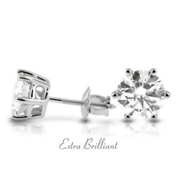 1.01ct G Si2 Round Natural Certified Diamonds 14k White Gold Classic Earrings