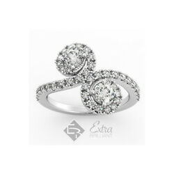 1.70ct E Si2 Round Natural Certified Diamonds 14k White Gold Halo Two-stone Ring