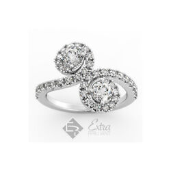 1.70ct H Si2 Round Cut Natural Certified Diamonds Platinum Halo Engagement Ring