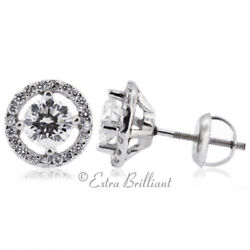 1.25ct F Si1 Round Natural Certified Diamonds 14k White Gold Halo Fine Earrings