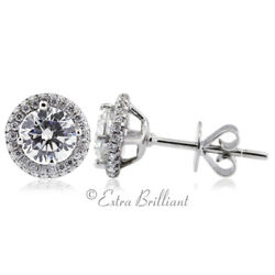 1.43ct G/vs2 Round Natural Diamonds 18k White Gold Halo Accent Earrings