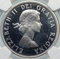 1964 Canada Quebec Charlottetown Vintage Prooflike Silver Dollar Coin Ngc I85398