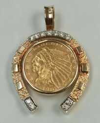 14k Gold Lucky Horse Shoe With Indian 2.50 Gold Coin Diamond Pendent