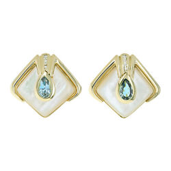 Blue Topaz Diamond And Mother-of-pearl Clip-on Earrings 14 Karat Yellow Gold