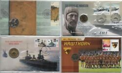 Australia Bargain Buy Four Pncs With Unc Coins And Plastic Covers - Navy Mawson