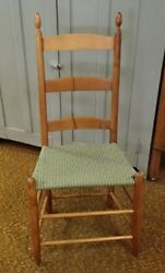 A Great 19th C Shaker 3 Slat Side Chair With Taped Seat
