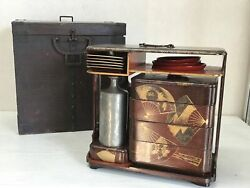 Y2483 Box Makie Gold Lacquer Lunch Box Set Japanese Antique Vintage Outdoor