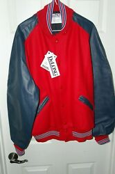 Delong Letterman Red Wool/blue Leather Jacket Size X Large Nwt