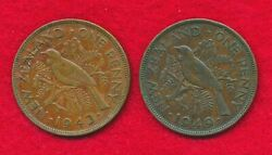 New Zealand 1943 And 1949 Penny 2 Coins Bronze