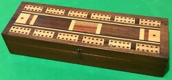 Old Antique Square Corner Playing Cards Cribbage Board Card Game Wooden Wood Box