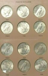 Peace Dollar Collection 1921-1935 23 Coins Lacking 1928p Au/ms W/album K697