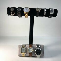 Lot Of 9 Vintage And Modern Fossil Stainless Steel Leather Mens And Womens Watches