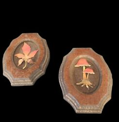 2 Vintage Wall hangings Copper Leaf and Mushroom 1970#x27;s 1980#x27;s Decor