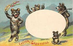 C.1910 Hold To Light 4 Bears Easter Greetings Post Card