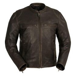 First Manufacturing Indy Menand039s Leather Jacket 5x-large Brown