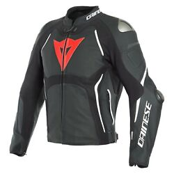 Dainese Tuono D-air Perforated Leather Jacket 54 Black Matte/black Matte/white