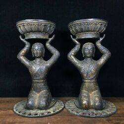 9 Chinese Old Antique Bronze Gilt Handmade A Pair Maid Oil Lamp Statue