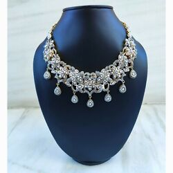 Antique Silver Polki Diamond Necklace, Indian Jewelry Set, Necklace Gift For Her
