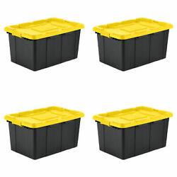 Large Tote 4 Pack 27 Gallon Stackable Plastic Storage Container Bin Organizer Hd