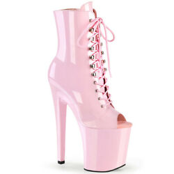Pleaser 8 Heel 4 Pf Peep Toe Lace Up Ankle Boots Adult Women Shoes Xtreme/1021