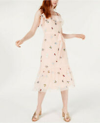 Betsey Johnson Pink Embroidered Soft Tulle Frilly Bug Bee Fly Midi Dress Nwt 10