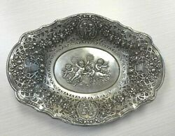 Sterling Silver 925 Repousse Oval Bowl With Cherub And Floral Design