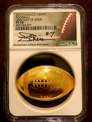 Canada 2017 200 Football-shaped And Curved 1 Oz .999 Gold - Ngc Pf70 First Day