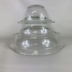 Vintage Pyrex Clear Glass Cinderella Lipped Nesting Bowls Set Of 3 1960's Usa