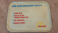 Vintage Mcdonalds Restaurant Fast Food Plastic Service Tray Ask Our Manager Htf