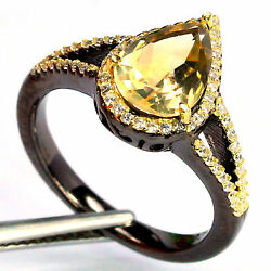 Natural Vvs 7 X 10 Mm. Yellow Citrine And White Cz Ring 925 Sterling Silver
