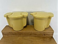 Vintage Tupperware 574-12 And 577-9 Sugar And Creamer Flip Tops Yellow Harvest Gold