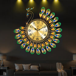 Luxury Peacock Large Wall Clock 20quot; Alloy Living Room Wall Watch Home Decor Gift