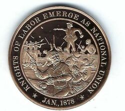 1878 Knights Of Labor National Union Noble And Holy Order Bronze Coin Medal