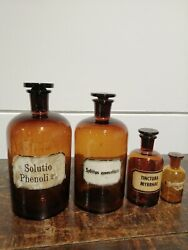 Set Of 4 Vintage Antique Industrial Glass Victorian Chemist Apothecary Bottle