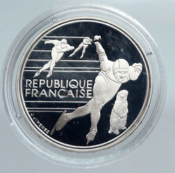 1990 France Speed Skating 1992 Olympics Proof Silver 100 Francs Coin I89943