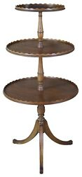 Antique 3 Tier English Regency Mahogany Dumbwaiter Accent Butler Display Table