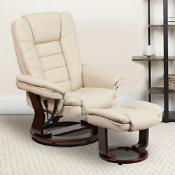 Brown Vintage Leathersoft Multi-position Recliner Andottoman W/mahogany Wood Base