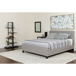 Queen Size Three Button Tufted Upholstered Platform Bed In Black Fabric
