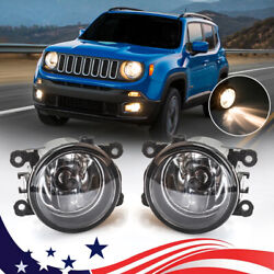 For 2015-2020 Jeep Renegade Pair Bumper Clear Fog Light Driving Lamp Replacement