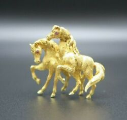 Vtg Merrin 18k Solid Yellow Gold Horse Ruby Eyes Thoroughbred Pin Back Brooch