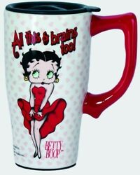 Betty Boop All This And Brains Too Ceramic Travel Coffee Mug