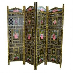 Made To Order Hand Carved Indian 4 Panel Screen Room Divider Antique Hand Painte