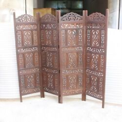 Made To Order Hand Carved Indian 4 Panel Partition Screen Room Divider Brown L