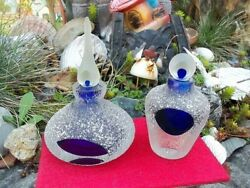 Studio Art Glass Frosted Cobalt Blue Blown Glass Perfume Bottles Set Of Two
