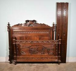 Antique French Breton Highly Carved Bed In Chestnut Wood With Figures