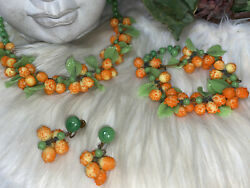 Miriam Haskell Early Hand Blown Glass Necklace, Earrings, Bracelet Set A7
