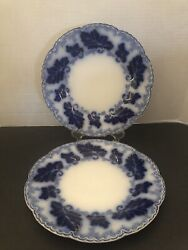 Antique Normandy Flow Blue Dinner Plate W/gold Accents By Johnson Brothers